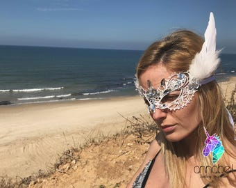 White Lace and Feather Face Mask Masquerade Rhinestones