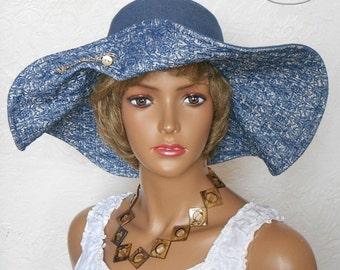 Wide brim hat, Denim hat, Blue hat, Stylish hat, Summer hat, Blue summer hat, Women's hat, Womens sunhat, Summer hats women