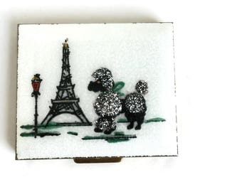 Refillable Makeup Compact Guilloche with French Poodle and Eiffel Tower