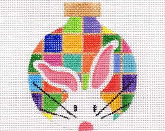 The White Bunny Patchwork Needlepoint Ornament - Jody Designs  WB5
