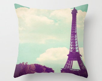 Paris Throw pillow - Paris, Pastel home decor, Eiffel Tower