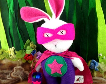 Easter Bunny plush, superhero bunny, superhero toy, handmade stuffed animal, stuffed rabbit, Easter gift.