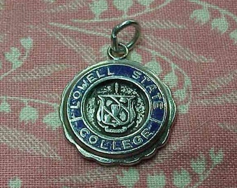 Vintage college jewelry etsy vintage sterling lowell state college blue enamel charm mozeypictures Image collections