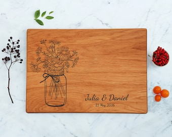 Bridal Shower Gift For Couple, Personalized Cutting Board, Wedding Gift For Her, Mason Jar With Daisy Flowers For Mother, Engagement Present