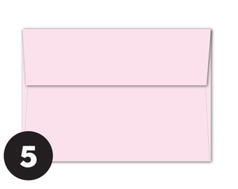 A7 Light Pink Envelopes for 5 x 7 Invitations, Photos  and Cards, Light Pink, Pack of 5
