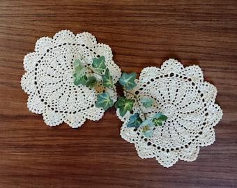 Vintage Crochet Lace Doilies, Crocheted Doily Pair, 7 Inch Medallions, Home Decor, Linens