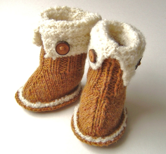 Knitting Pattern Baby Booties Ugg Style Booties Pattern Easy