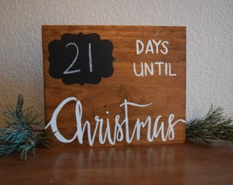 Chalkboard Christmas Countdown | Hand Painted Wooden Sign |