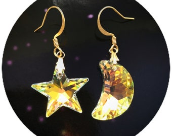 Gold Crystal Moon and Star earrings, Swarovski components on your choice of ear hooks