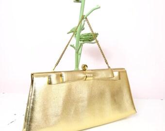 Gold Clutch | 1960s Harry Levine Gold Vintage Clutch | Vintage Gold Clutch Purse