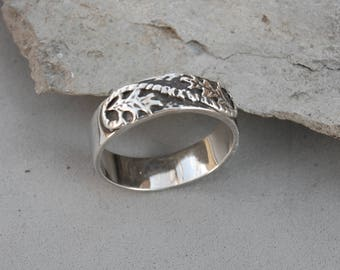 Falling Leaves Ring Band Size 10 Sterling Silver Oak Leaf Hand Made Cast