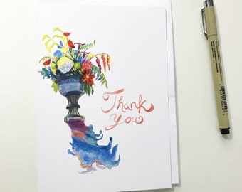 Thank You, floral 5x7 card, Ready to Ship greeting card