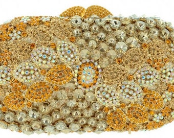 New Gold  With Clear Austrian  Crystal Floral-Hard Shell Clutch Evening Handbag