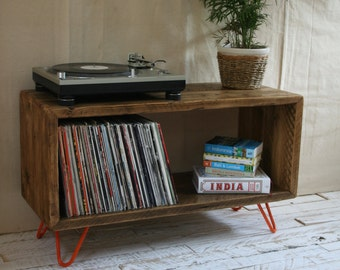 Rustic Industrial Hairpin Leg Scaffold Board Record Player Stand TV Unit Vinyl Turntable Storage