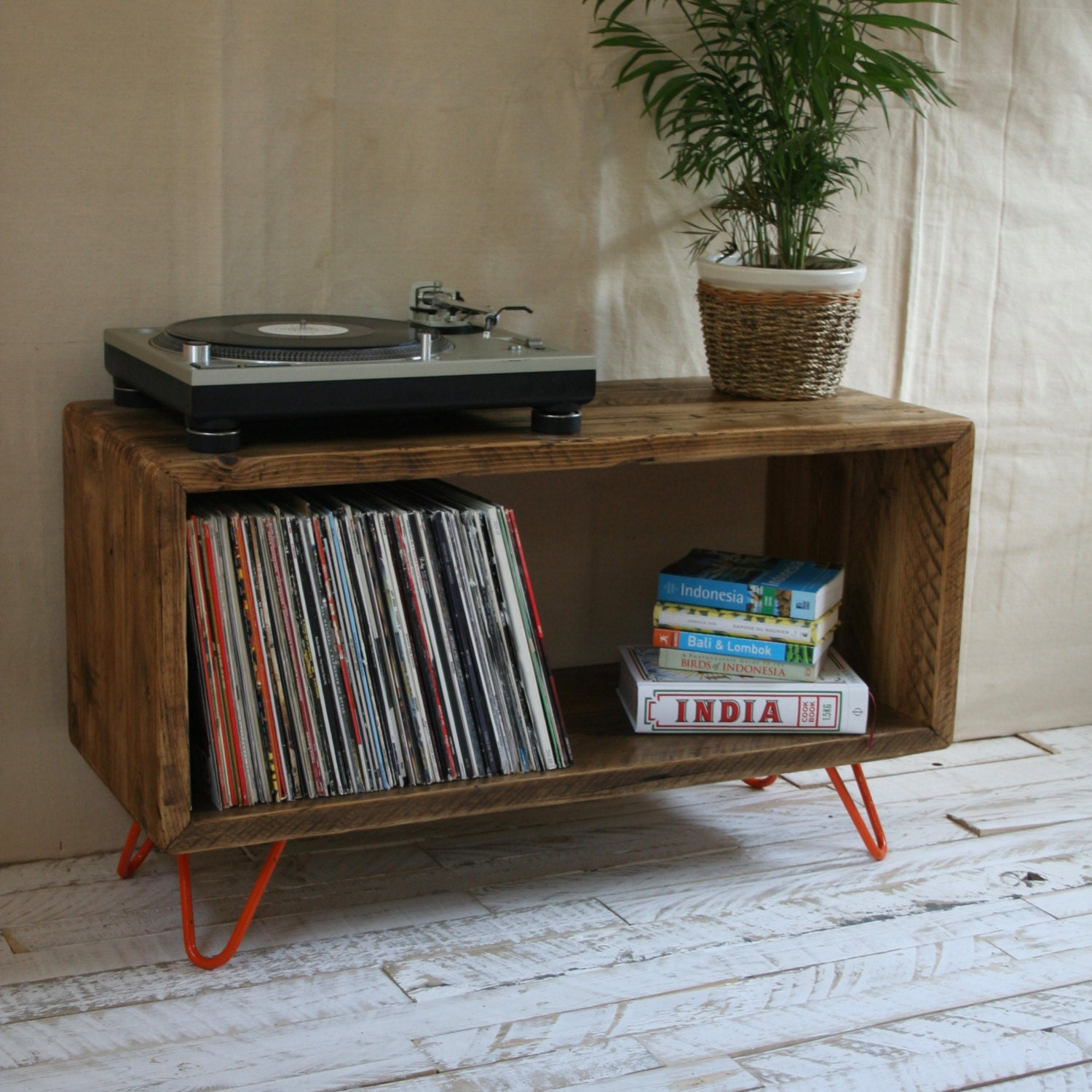 rustic industrial hairpin leg scaffold board record player. Black Bedroom Furniture Sets. Home Design Ideas