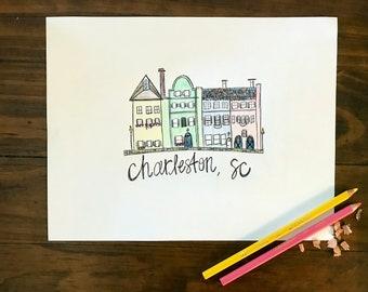 Charleston Rainbow Row Print