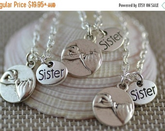 SALE 3 Three Pinky Promise Sister Necklaces, NP047-3, Best Friends, Pinky Swear, Siblings, Bridesmaid necklaces