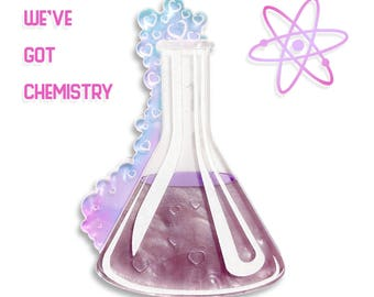 "PRE ORDER - Purple and Iridescent ""We've got Chemistry"" science experiement beaker test tube layered laser cut acrylic brooch"