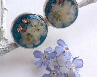 Tiny forget me not earrings