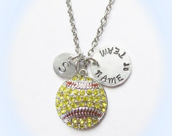 Personalized Softball Necklace, Softball Mom, Softball Coach Gift, Initial or Jersey Number, Softball Team Gift, Softball Jewelry