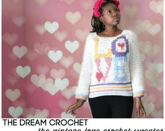 The Vintage Love Crochet Sweater Pattern. Instant Download!