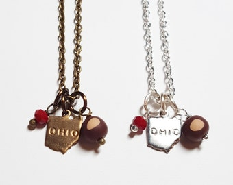 Ohio Buckeye Charm Necklace | Ohio State Buckeyes | Ohio Gift