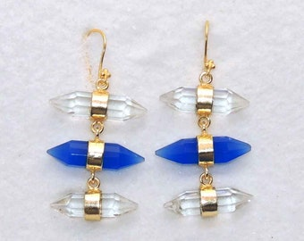 Crystal quartz and blue chalcedony sterling silver gold plated handmade dangle earring