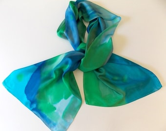 Silk Scarf, Hand Designed, Blues, Greens,Oceans, 15x72 inches, Or Table Runner, Table Scarf