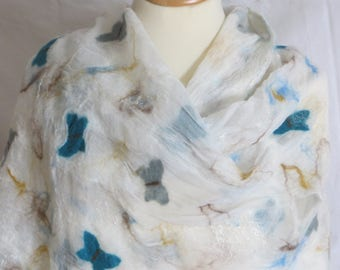 Light felt scarf, silk chiffon, butterflies