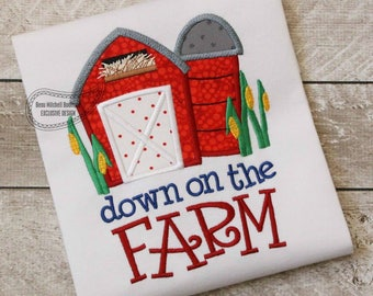 Down on the farm applique embroidery design