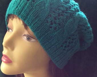 Cables andLace aqua slouchy with pompom