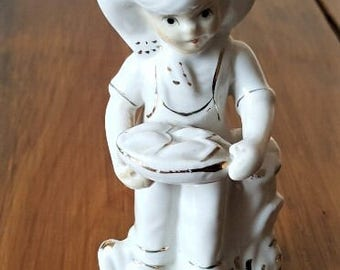 Vintage little boy figurine - white with gold accents