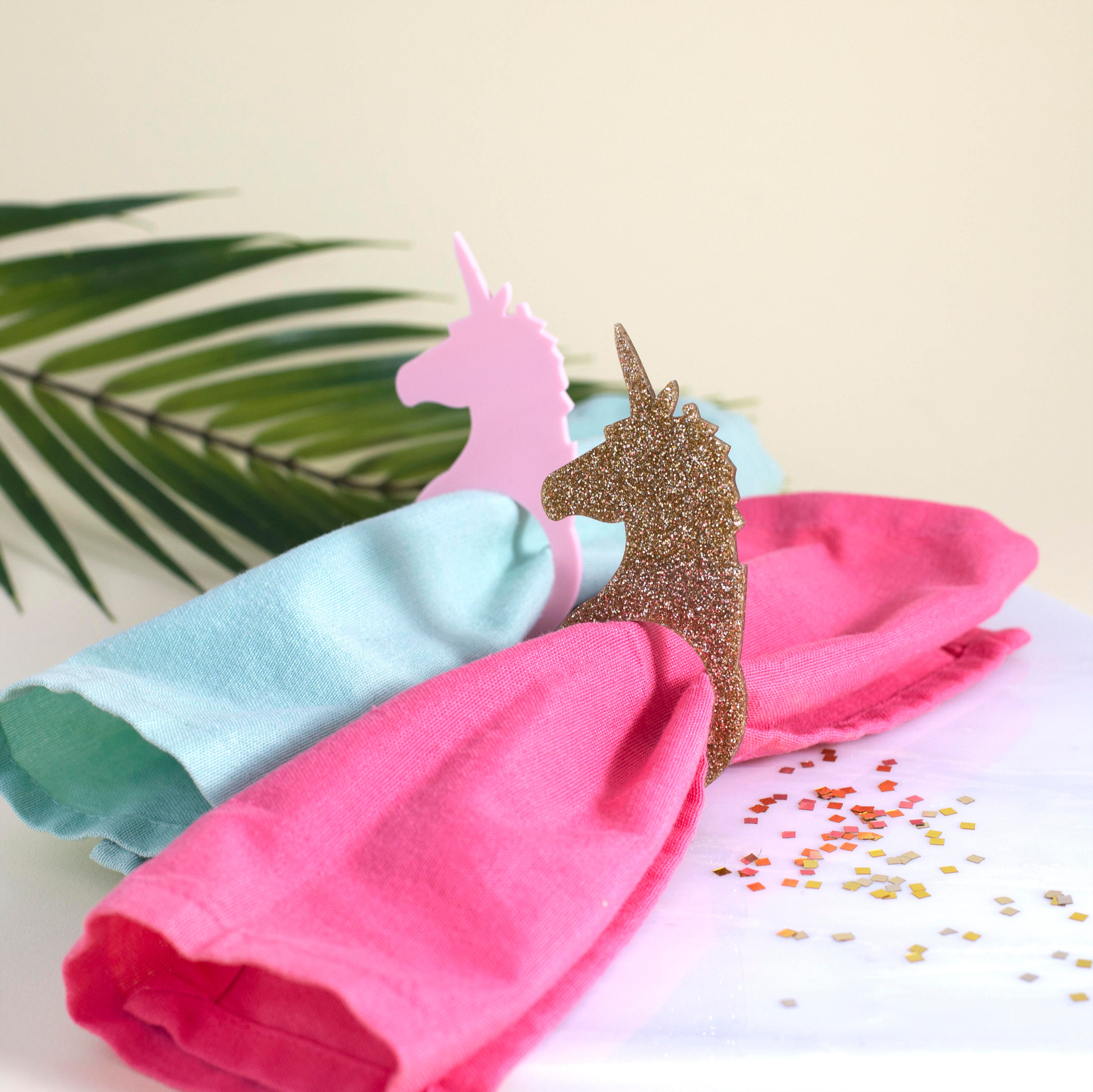 Unicorn Napkin Rings in Pink or Gold Party Napkin Rings