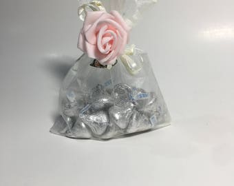 White Rose  Organza Party Favor Bags