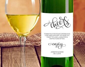Wedding Wine Label, Cheers Wine Label, Wedding Printable, Printable Wine Label, Editable PDF Template, Instant Download E118B