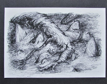 Fine art giclee print A5 black and white ink drawing 'Hallows' eve'