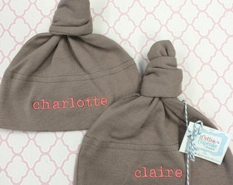 Personalized Twins Baby Hats -  FREE SHIPPING - American Apparel Knot Hat with twin names