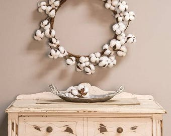 "FARMHOUSE STYLE--COTTONBALL WReATH - or Candle ring- 17"" TReNDY DeCOR"