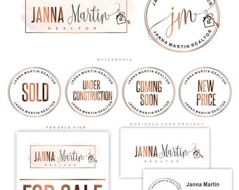 Realtor logo, Real Estate logo design, Key and House logo, Branding Kit, Realty Logo design, Stamp realtor, Real Estate business card, 144