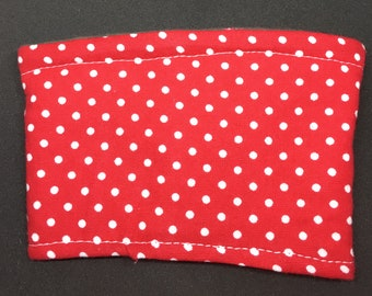Reusable Fabric Coffee Sleeve / Reusable Coffee Cozy / Cup Sleeve / Eco Friendly Coffee Sleeve / Red and White Polka Dot Print
