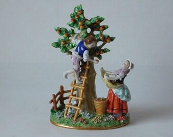 "19TH Century Sitzendorf Figural Group ""The Fruit Pickers"" ~ Free UK Postage"