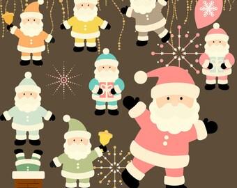 Retro Clipart, christmas clipart, santa Clipart, Instant download