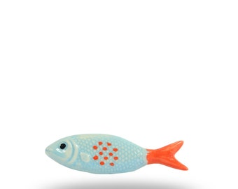 Ceramic Fish knob, Light Blue shaped Furniture Door Handle, Unique Knob for Cabinets, Cupboards and Drawers, Decorative Furniture Hardware