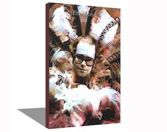 Elton John 1975 100% Cotton Canvas Print Using UV Archival Inks Stretched & Mounted