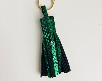 Tassel Keychain- Emerald Snake