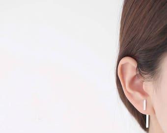 925 Sterling Silver Strip Hanging rectanagle Stud Earrings