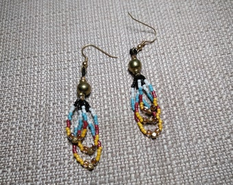 6 mm cut turquoise color beads Pow Wow Earrings