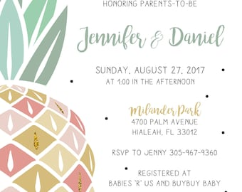 Pineapple Baby Shower Invitation- Digital File Only