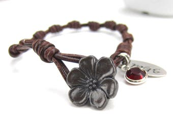 Knotted leather rosary for women, Button closure, Knotted personalized rosary bracelet, baptism, confirmation, communion gift