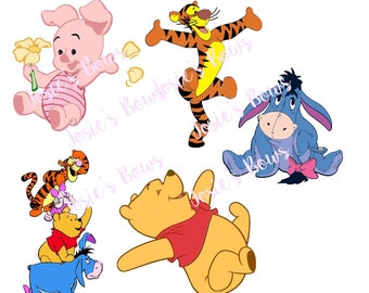 Pooh Crew Inspired BY Winnie the Pooh Eeyore Piglet & Tiger Cut Cutting File - Contains : SVG. DXF, Silhouette Cut File and Jpg